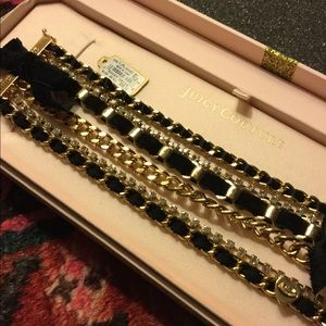 NWT juicy couture black/gold layered bracelet